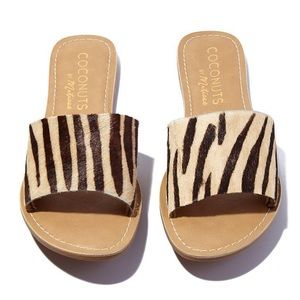 Coconuts by Matisse Shoes - BRAND NEW! Zebra print slides